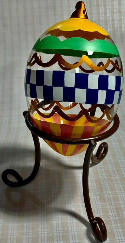 """Glass Easter Egg Ornament with Metal Stand """"Decorated Easter Egg"""" HAND PAINTED"""