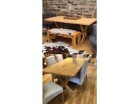 Solid Oak Dining room table / bench / 6chairs