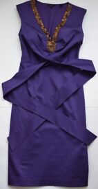 Ted Baker purple and gold sequin pencil dress