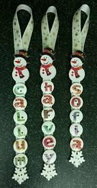 Handmade button christmas tree decoration name tag