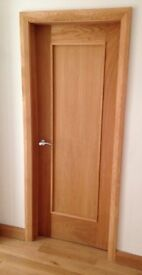 SOLID OAK INTERNAL FIRE CHECK DOOR (198cm tall) - SHAKER STYLE in PERFECT CONDITION