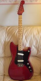 Fender vintage 1957 Duo-Sonic. Old pro refinish in Candy Apple Red. A great players guitar.