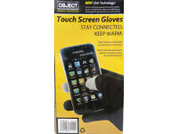 100 PAIRS OF OBJECT TOUCH SCREEN GLOVES - FIT MOST SIZES UP TO 9 LARGE (NEW)