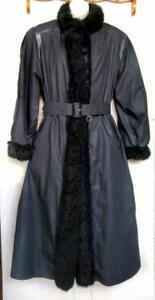 14 16 L+ Rain & Snow LONG COAT Real fur trim Australian Possum Black Swing or Belted Large Roomy