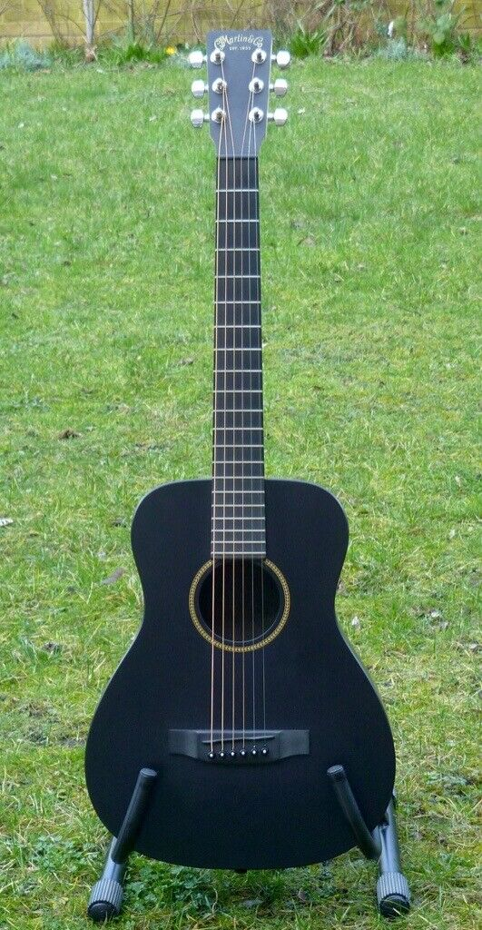 Martin Lx Black Little Martin Travel Guitar With Original Gig Bag In