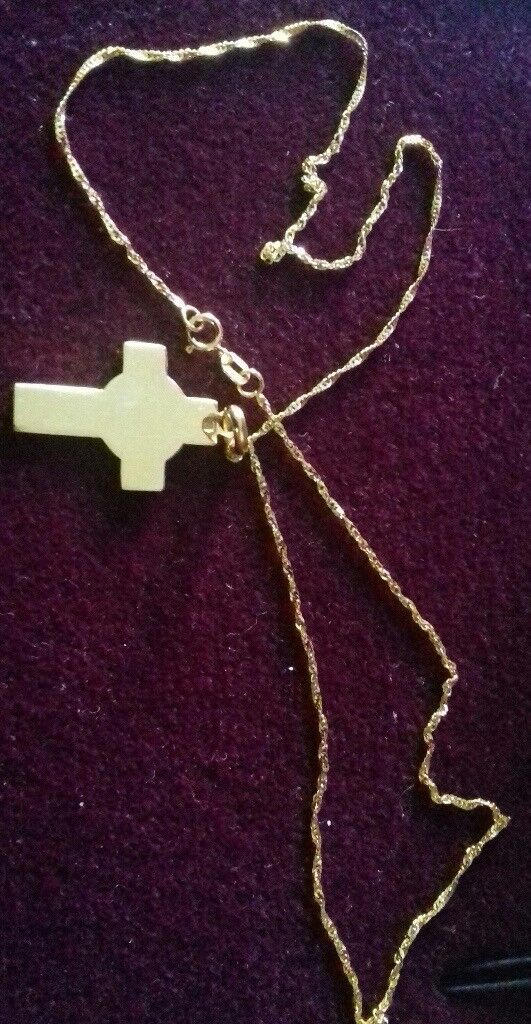 9ct cross and chain