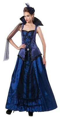 Royal Blue Victorian Gothic Steampunk Costume Dress Lady Vamp Penny Dreadful (Victorian Vamp)