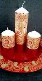 Personalised candles and thaals
