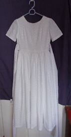 DRESS WHITE, ¾ LENGTH Broderie Anglaise Cotton Dress