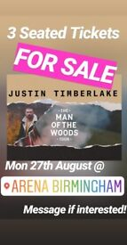 X3 Justin Timberlake seated tickets. Arena Birmingham. Mon 27th Aug