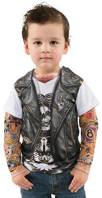 Boys Biker Costume (Toddler Boy Faux Real Tees Motorcycle Biker T-Shirt Costume Tattoo Sleeves 2T)