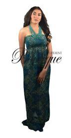 Womens bohemian summer/beach green & yellow print full length maxi dress £10