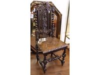 Stunning Mid Victorian (c1850) Oak Carved Hall Chair - WE CAN DELIVER ACROSS UK