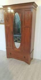 Edwardian Inlaid Mahogany Bevelled Mirror Wardrobe