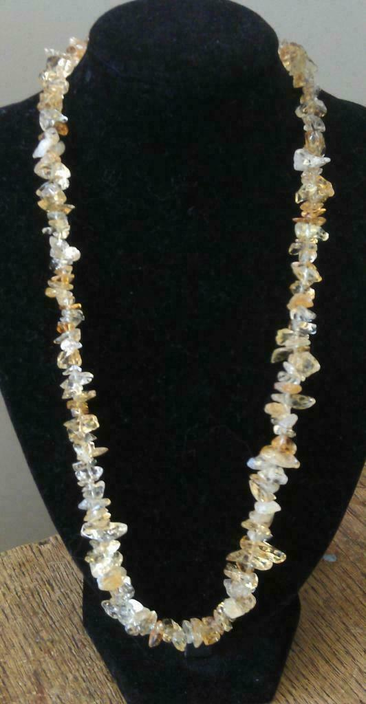 "Clear Quartz and Citrine Chip Necklace 16"" to 34"", Long Necklace, Short Necklace"