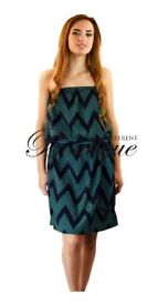Green & blue zig zag print midi maxi dress £5