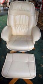 Cream coloured swivel chair & matching foot srtool.