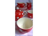 orange polka dot tea set