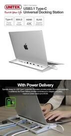 MacBook Pro UNITEK Y-3708 DOCKING STATION USB-C HDMI 4K SD USB A 3.1 3.0
