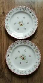 Two Wedgewood Bianca Design Dinner Plates