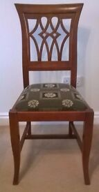 Bedroom / Occasional Chair, Versace Style Fabric Solid Cherry Wood