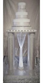 Was £199 now £125 BESPOKE WOW FACTOR Wedding Cake Stand Sparkling Silver, Crystals and Pearl Trim