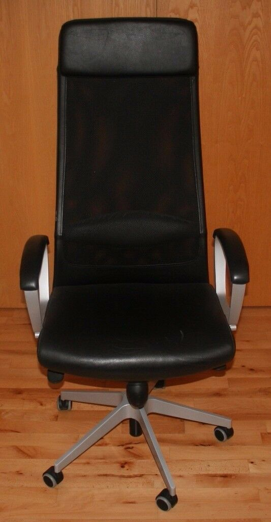 Office Swivel Chair U2013 Ikea Markus U2013 Black Leather U0026 Mesh U2013 Height U0026 Tilt  Adjust