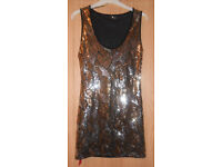 Evie Gold & Silver Fully Sequinned Lined Stretch Party Evening Dress size 10