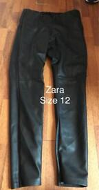 Zara leather look trousers size 12