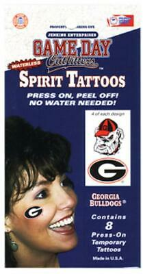 Georgia Bulldogs Waterless Spirit Temporary Tattoo 8 Pack [NEW] Face Sticker - Georgia Bulldog Tattoos