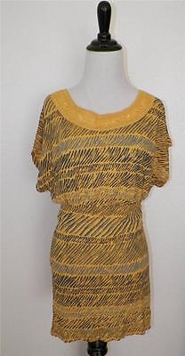 Urban Outfitters Ecote Canary Yellow Egyptian Collar Long Tunic Shirt Top Dress