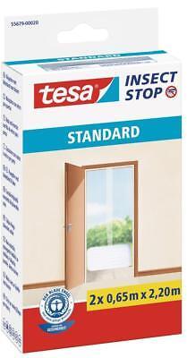 tesa Fliegengitter Türen Standard weiß leichter Sichtschutz 2 x 0,65m x 2,2m ()