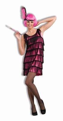 Damen Erwachsene Roaring 20s Jazzy Pink Flapper KOSTÜM S