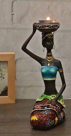 African Woman Decorative Resin Figurine Candle / Tea Light Holder - New