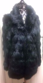 stunning black faux fur long fur coat from papaya size small brand new with tag attachments