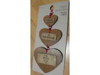 Next Triple Wooden Hanging Hearts