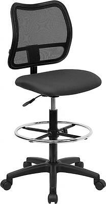Flash Furniture Mid-back Mesh Drafting Stool Wgray Fabric Seat Wl-a277-gy-d-gg
