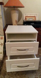 top top quality expensive white solid 2 drawer bedside locker with silver coloured metal handles