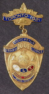 I.O.O.F. TORONTO 1921, SOVEREIGN GRAND LODGE ENAMELLED MEDAL
