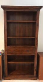 Tall bookcase, acacia wood and acacia veneer