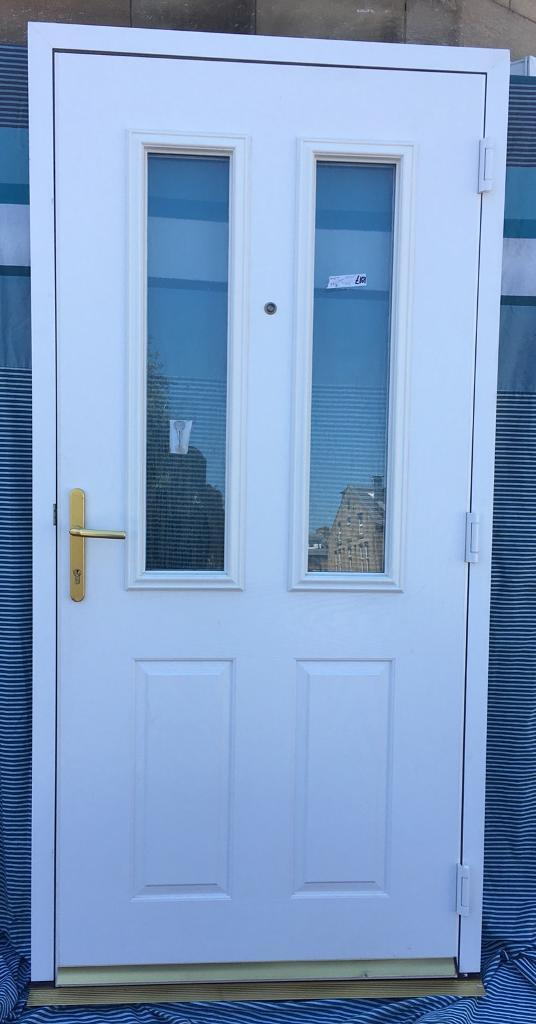 Super White Composite Disabled Access Door 2 Tough Glass Panels