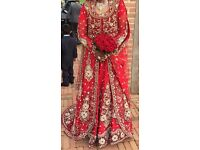 Red Bridal Dress with silver and gold embroidery