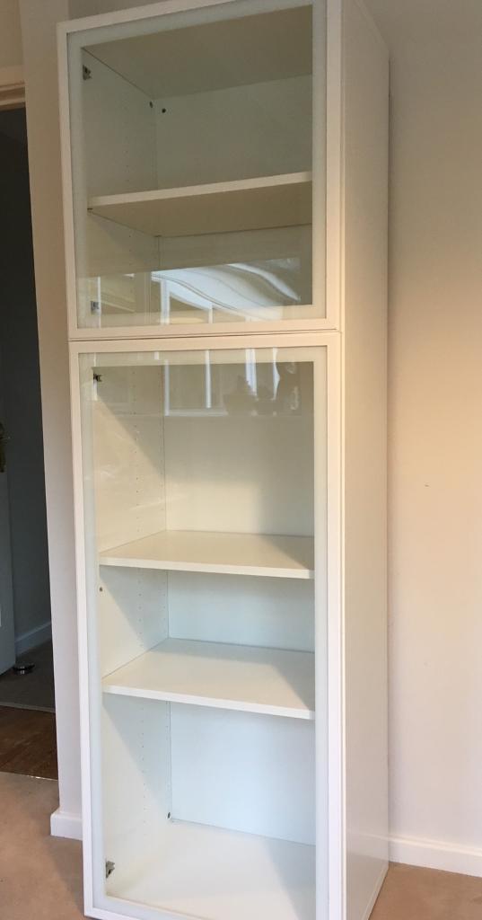 Ikea Besta Cupboard Unit With White Glassvik Glass Doors In