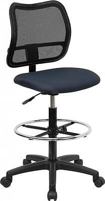Flash Furniture Mid-back Mesh Drafting Stool With Navy Blue Fabric Seat
