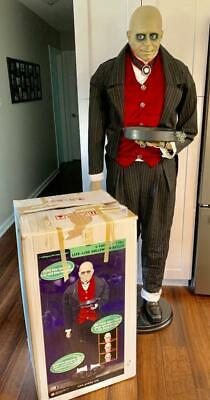 """Rare GEMMY Life Size Realistic Halloween ANIMATED BUTLER 72"""" Very Cool +Box"""