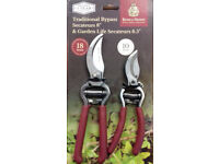 "Secateur set by Kent & Stowe -Traditional Bypass 8"" & Garden Life Secateurs 6.5"""
