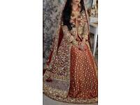 Designer Red bridal lengha / wedding dress