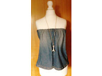 Ladies New Faded Blue Denim Strapless Bandeau Boob Tube Summer Top.Size 12/14