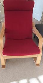 Rocking-chair POÄNG Oak veneer/red cover