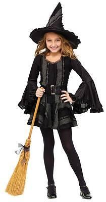 Mädchen Kind Schwarz Stich Hexe Kostüm Outfit mit / (Stich Mädchen Kostüm)